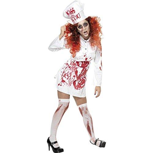 Blutige Köchin Kostüm Zombie Koch rot weiß Koch Zombiekostüm Halloween Damenkostüm Halloweenkostüm Damen Horrorkostüme