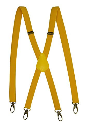 Olata Hosenträger X-Form mit Karabinerhaken aus Messing - Modell 'Skinny' 2cm. Gelb