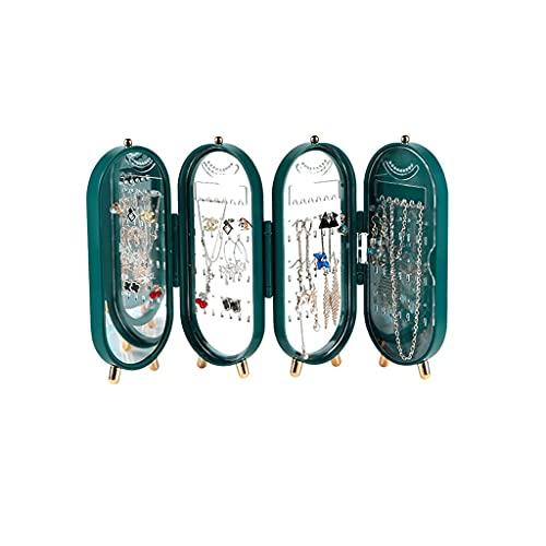 ROEWP Pantalla de Collar de Adornos de Mano, Caja de Almacenamiento de pie, antioxidación a Prueba de Polvo, Caja de joyería plástica de Gran Capacidad Plegable (Color : Green)
