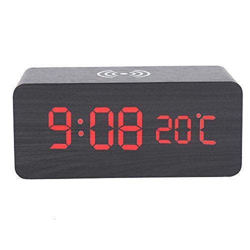 Réveil en Bois Portable Sans Fil LED Horloge Numérique Bureau Contrôle Vocale Température Chargeur Trois Alarmespour Téléphone Batterie ou USB Alimenté(Mot rouge-Noir)
