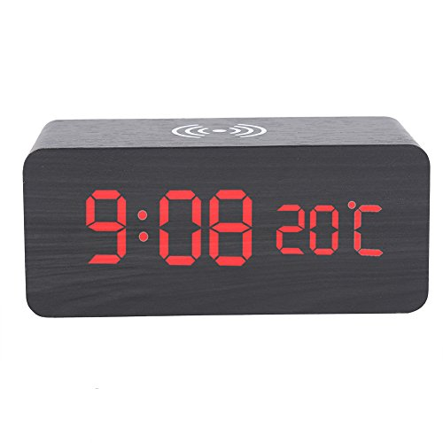 Reloj Despertador Digital Reloj De Alarma Digital LED De Madera, Cargador Inalámbrico De Control De Voz De Control De Voz Silencioso por Teléfono para Teléfono, para Viajes De Oficina En Casa (Negro)