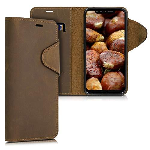 kalibri Hülle kompatibel mit LG G8s ThinQ - Leder Handyhülle - Handy Wallet Case Cover in Braun
