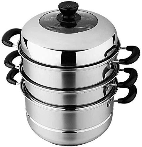 XIN Cocina Olla Vapor Vaporera Nivel 3 Vapor Conjunto de la Cacerola de Acero Inoxidable sin Recubrimiento Inferior compuesta de cocción por inducción Vapores Cocina de Gas Universal Stock Pot 26cm