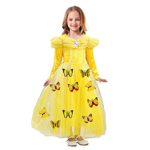 Abito da Cenerentola Principessa Bambina Vestito Farfalla Costume Regina delle Ragazze Carnevale Hollween Fantasia Compleanno Abito Belle Costumi Vestire Operato da Sposa Gonna Partito Giallo 7-8 Anni