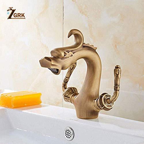 ZLININ Grifos de lavabo doble manija fría grifos baño grifo giratorio montado en la pared latón antiguo cubierta montado fregadero