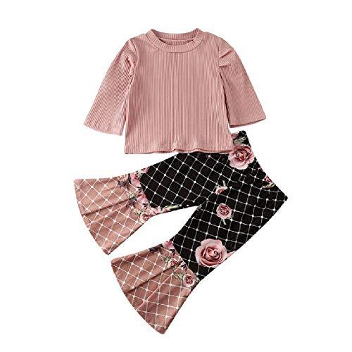 Baby Meisje Kleding Set Roze Tops T-Shirt Lange Bloemen Flare Bell Bodembroek Outfits Peuter Kids Tracksuit Baby Herfst Kleding