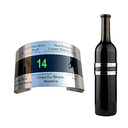 Ducomi Sommelier – Termómetro para vino – Mide la temperatura de vinos, cerveza y licores – Sensor pulsera para botellas de acero inoxidable regalo original para hombre