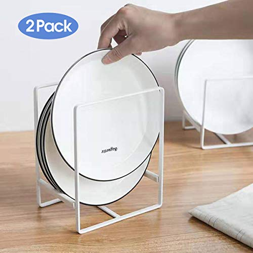 Plate Holders Organizer for Kitchen Metal Dish Storage Dying Display Rack for Cabinet, Counter, 2 Pack (White,Large)
