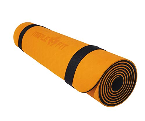 MapleFit Premium Non-Slip Eco-Friendly Yoga Mat with Carrying Strap; Ideal for Yoga, Hot Yoga, Pilates and Floor Exercises. Double Layered Design for Added Stability, Support and Comfort. (Orange)