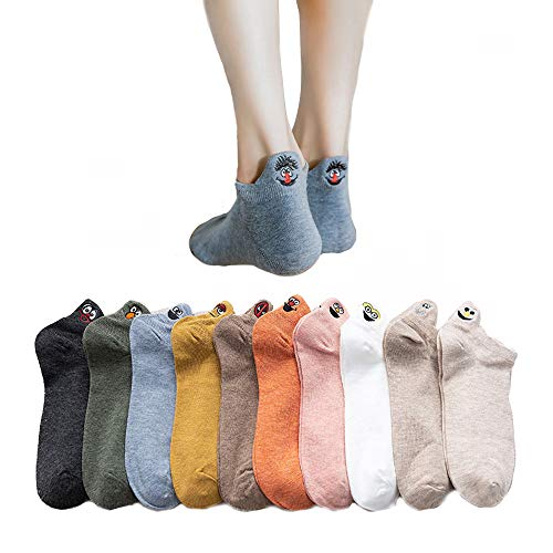 CrystalLover 靴下 レディース クルー ソックス レディース くるぶし 10足セット かわいい 蒸れない おもしろ靴下 女性用