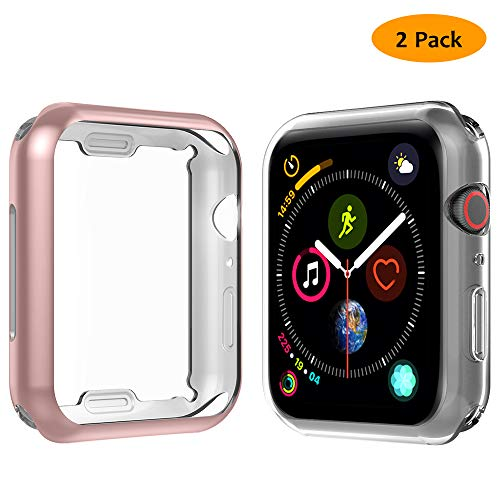 Hianjoo [2 Pack Custodia Compatibile per Apple Watch Series 4, Cover Protettiva per Apple Watch 40 mm Antiurto Schermo TPU Protezione Completa Cover per iWatch Series 4 - Trasparente + Oro Rosa