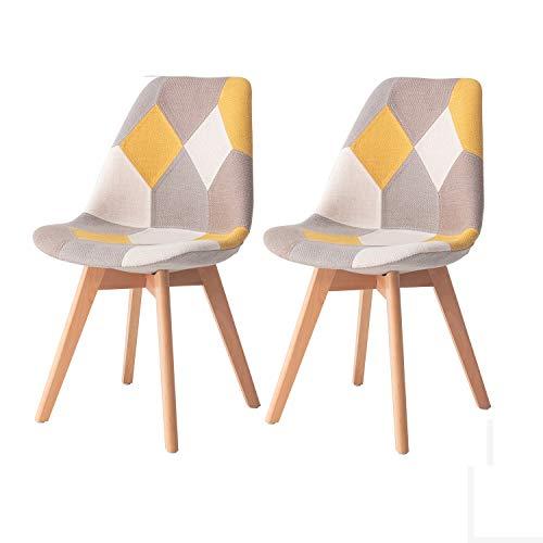 MIFI Chaises de Salle à Manger pour Cuisine Ensemble de 2 chaises de réception en Tissu en Lin avec Coussins Moelleux pour Le Dossier Chaises Multicolores Chaises de réception e (Jaune)