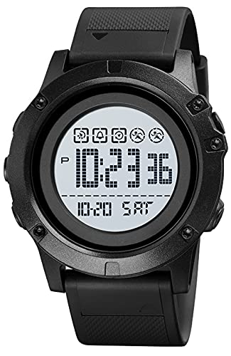 Relojes Deportivos Hombre, Digital Militares Relojes de Pulsera con Calendario/LED/Alarma/Cronómetro/Resistente al Agua 50M Negro Reloj Esfera Grandes para Hombre