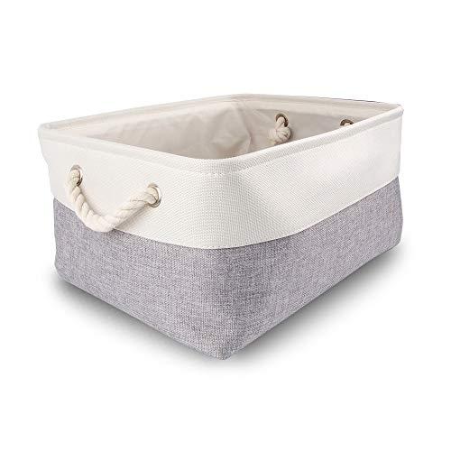 Mangata Caja de Almacenamiento Ropa, cestas de almacenaje Tela, Plegable Cajas organizadoras para Juguetes, armarios (Grande, Gris Blanco)