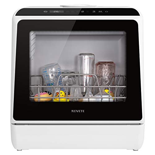 Product Image 8: Portable Countertop Dishwasher, NOVETE Compact Dishwashers with 5 L Built-in Water Tank & Inlet Hose, 5 Washing Programs, Baby Care, Air-Dry Function and LED Light for Small Apartments, Dorms and RVs