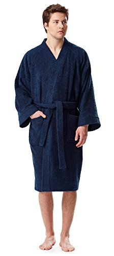 Arus - Albornoz corto de algodón turco de rizo para hombre, Azul marino, Large-X-Large