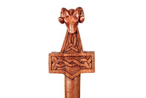 windalf Viking Randonnée Tige mjölnar à partir de 175 cm Marteau avec tête de bélier Thor main en bois