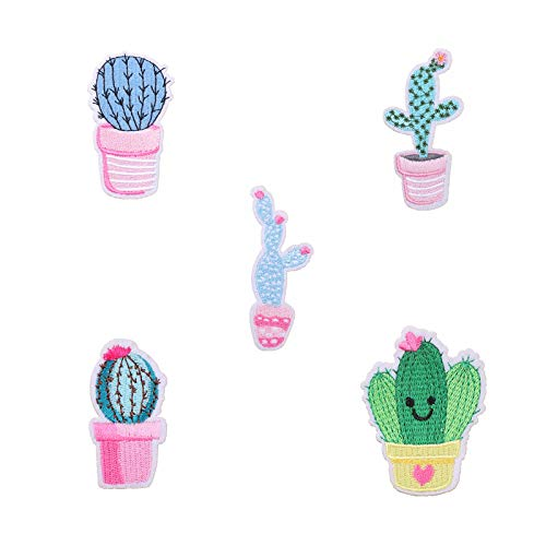 CAOLATOR Aufnäher 5Stk Stoff Aufkleber Patch Sticker Kaktus Aufbügeln DIY Kleidung Applikation Patches Flicken mit Kleber für T-Shirt Jeans Taschen Schuhe Hüte