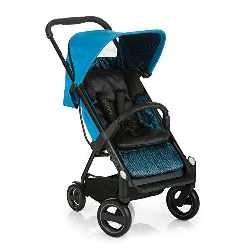 ICOO Silla de Paseo Compacta Acrobat hasta 18 kg con Función de Tumbado desde el Nacimiento, Plegable con una Mano, Ligero - Chassis de Aluminio, Manillar Regulable en Altura, Reflectores - Azul