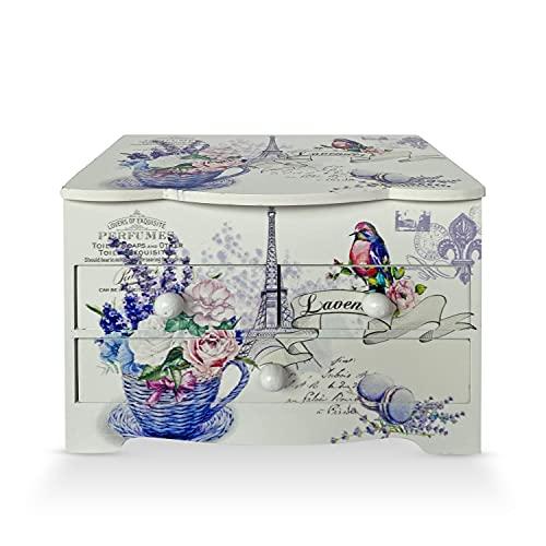 Joyero Cajón para Joyas, Cofre de almacenamiento de Collares, anillo, y pendientes, organizador de diseños juveniles, ideal para regalo con espejo (FLORES JULI)