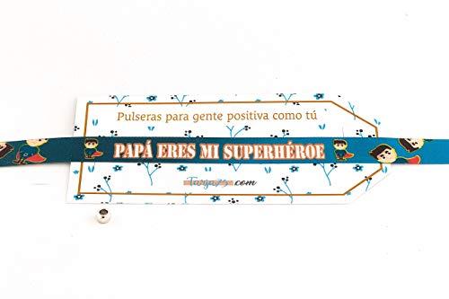 Tarja 73   Pulseras De Tela Con frases molonas: PAPÁ, ERES MI SÚPER HÉROE   Regalo Original   Ideal Para Bodas, Aniversarios, Fiestas   Calidad HD
