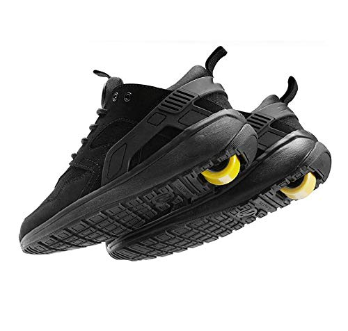 qmj Zapatillas con Ruedas Hombres Mujeres Niños Niñas Zapatillas De Skateboard Zapatos con Ruedas,Black-43