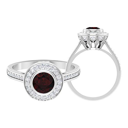 Rosec Jewels 14 quilates oro blanco redonda round-brilliant-shape H-I Red Diamond Garnet