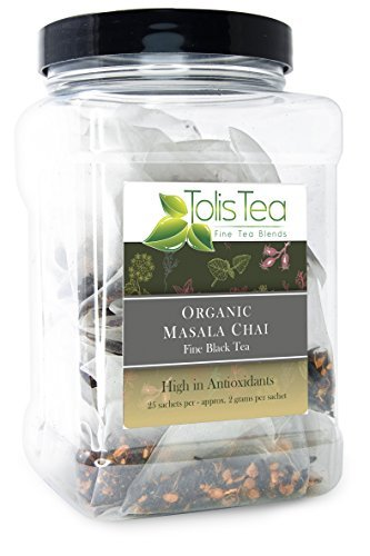 Tolis Tea Organic Masala Chai Tea, Fine Black Tea with Cinnamon and ginger, - Premium whole leaf pyramid tea sachet bags - High In Antioxidants, All Natural Ingredients, 25 Silk Sachets