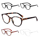 SKYWAY 5 Pack Blue Light Blocking Reading Glasses with Spring Hinges, Computer Gaming Readers Women Men Lightweight Anti Glare, Non-Prescription Glasses (+1.50, Round)