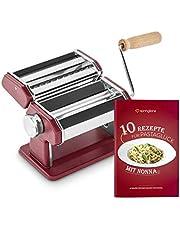 Máquina de fideos manual Nonna, Acero inoxidable, Máquina para hacer pasta, incluye secador de pasta y 3 accesorios para cortar espaguetis, lasaña, tallarines - rojo