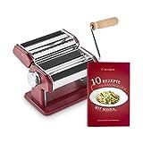 Machine à nouilles manuelle Nonna, Acier inoxydable, Machine à pâtes avec séchoir à pâtes et 3 accessoires de coupe pour spaghettis, lasagnes, tagliatelles - rouge