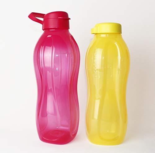 EcoEasy TUPPERWARE to go Trinkflasche 2L Rot mit Clipverschluss und Henkel + 1,5L Gelb Schraubverschluss