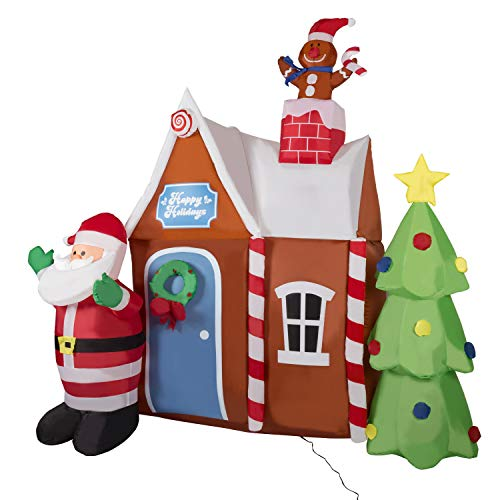 Kinbor 6Ft Christmas Inflatables Santa Claus with Gingerbread House Christmas Tree Air Blown Built-in Flashing LED Lights for Home Party Indoor Outdoor Yard Lawn Decoration