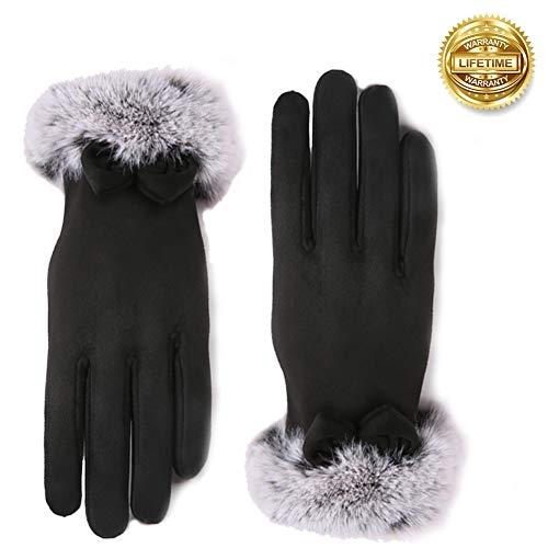 Vohoney Handschuhe Damen, Winter Handschuhe Warme Touchscreen Handschuhe Outdoor Sport Fahrradhandschuhe Winddicht Laufhandschuhe Künstliches Wildleder Handschuhe(Damen Winterhandschuhe Schwarz 2)