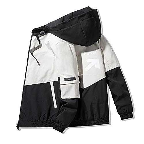 Primavera y otoño ropa de los hombres chaqueta abrigo con capucha slim fit parker, 7 (Reino Unido), L