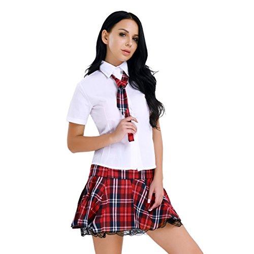TiaoBug Damen Schulmädchen Kostüm Set Weißes Hemd Kurzarm Bluse Krawatte Mini Rock Uniform Outfit - Sexy Dessous Reizwäsche Rot&Weiß XL