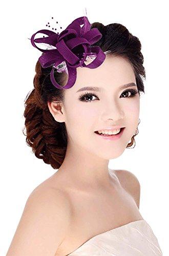 La Vogue Pince à Cheveux Plume Mariage Chapeau Fascinator Bibi Coiffe Broché Fleur Violet