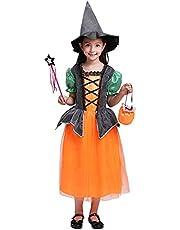 Cousannory キッズ服 プリンセスドレス ハロウィン 変装 チュール ワンピース 魔女 帽子付き かわいい コスチューム ステージ 衣装 女の子 仮装 入学式 卒業式 文化祭 学園祭 子供用 パーティー