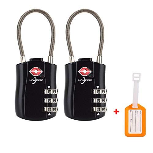 Hovinso TSA lucchetto Cavi Approvati per Serrature per Bagagli Luggage Lock 3 Combinazioni a Quadrante (2pac) Blocco pass per Borse per Valigie Gym Black Password Lockers e altri zaini