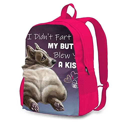 OYQGEJGPJA I Didnt Fart My Butt Blew You A Kiss Corgi Novelty Youth Backpack Shoulder Bag for School