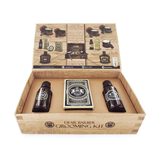 Dear Barber Groom & Go Men's Gift Set Collection, Beard Oil 30ml, Moustache Wax 25ml & Mens Fragrance 30ml
