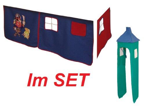 Vorhang Hochbett, Kinderbett Pirat Stoff 3-teilig blau-rot incl.Kebeklett + Turm blau-grün