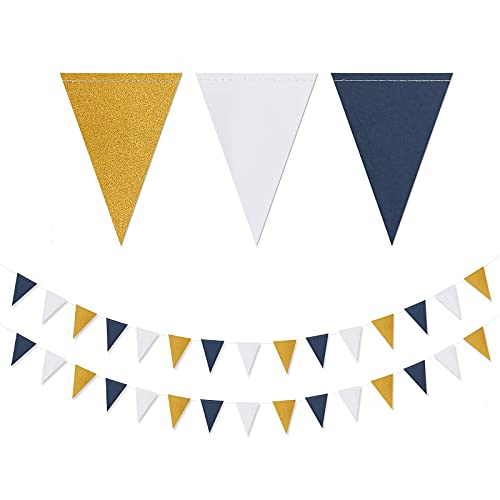Navy Blue White Gold Pennant Banner,2 Pack Glitter Sprinkles Paper Triangle Flags, Birthday Graduation 2021 Fathers Day Wedding Baby Shower Party Decorations Bunting Lasting Surprise