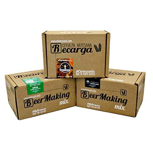 Pack 3 recargas de materias primas para elaborar cerveza en casa. #Cervezanía IPA, Weissbier Trigo & Albero Gastronómica Pale Ale