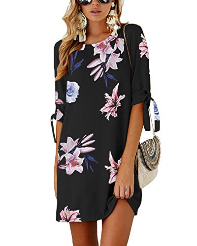 YOINS Vestido Casual para Mujer Verano Vestidos Largos de Fiesta Manga Corta con Cuello Redondo Tops Floral 02-Negro S