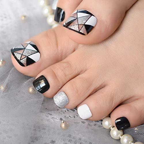 DKHF Valse nagels Geometrische driehoekige tenen nepnagels Zilver Glitter Zwart Zilver