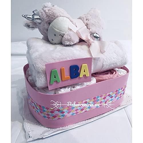 Bebearcoiris.es - Tarta de pañales bebé recien nacida personalizada Unicornio Rosa