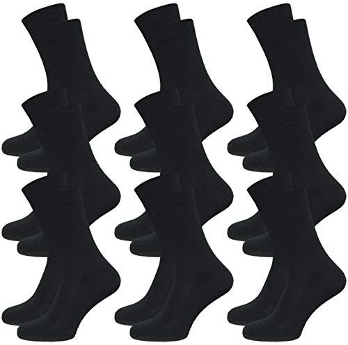 9 Paar Damen & Herren Venensocken - Socken ohne Gummi - ohne drückende Naht - Komfortbund (43-46, schwarz)