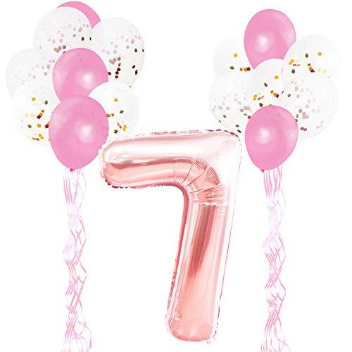 KUNGYO Decoraciones de Fiesta de Cumpleaños para Adultos y Niños, Oro Rosa Gigante Número 7 y Estrella de Helio Globos, Cintas, Globos de Confeti de Látex- Rose Gold Suministros de Fiesta