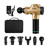 Massage Gun Deep Tissue, Handheld Body Massager, Percussion Muscle Massage for Athletes, Portable Case Quiet Brushless Motor Back Pain Relief, Long Battery Life, 3 Speeds, 6 Heads